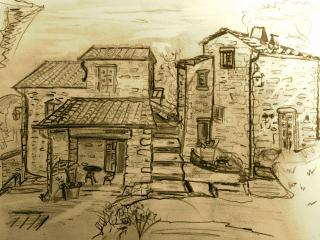 One of our young guests drawing of Il Borgo.