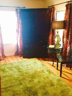 Living Room with Sealy Sofa bed (full size) for your extra guests. HDTV, games, books in Armoire