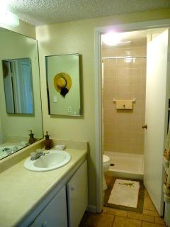 Newly remodeled Shower with sitting bench inside.  New high toilets and grab bars.