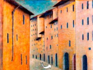 L'ingresso alla casa in un disegno di Ottone Rosai