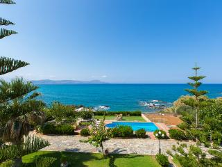 Private beach and swimming pool at Katerina villa, Rethymnon