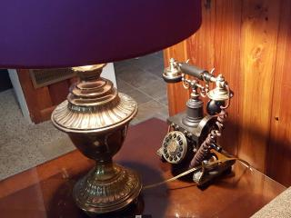 living room and telephone...we have a few antiques...