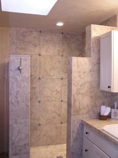 Master Bathroom with Marble Tile