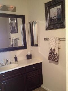 Master bath vanity richly appointed