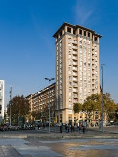 Building's facade, located just 100 m from Sants Station (main train station in Barcelona)