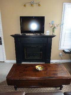 This is your electric fireplace with the new 40 inch SMART TV.