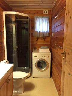 Bathroom, towels and clothes washing liquid supplied