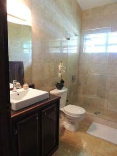 Guest bath with marble walls, vanity and shower