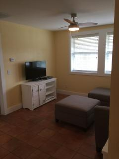 Family room with flat screen tv, surround sound and dvd player