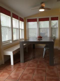 Dining table with bench and chair seating