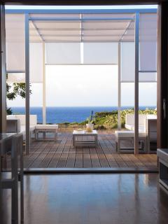 la vista del mare dal  gazebo ed dalla zona living interna
