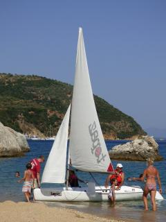 We are happy to take visitors on our Topper Topaz dinghy for some informal sailing lessons....