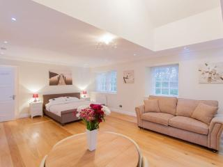 The bedroom.  Comprises super-king bed, king sofa bed, dining table for 4, wifi, TV, heating, etc.