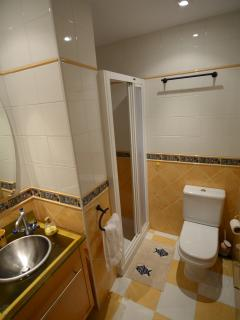 The en-suite bathroom and shower