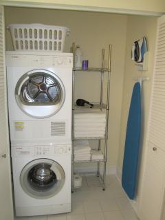 Full laundry facilities on the bedroom level