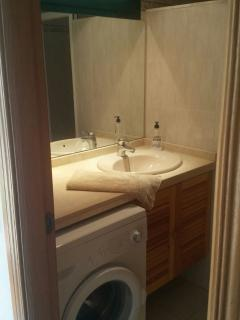 Bathroom: Toilet, Bidet, Shower, Basin, Washing Machine