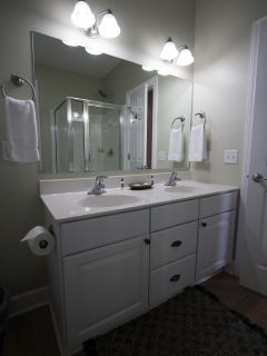 Master bathroom double sink vanity