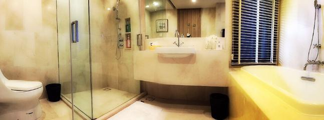 Master bath en suite with walk in shower and full size bath tub.