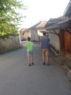 Jon and Gabriel walking back from the shops in Merdanya.
