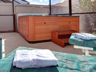 Pool deck and hot tub