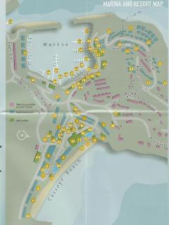 Map of Hamilton Island, with our house in the top right.