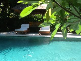 Villa in grote tropische privetuin met heerlijk zwembad bij zee in Noord Bali