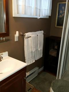 Bathroom with towels provided for you.