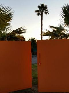 Sunset over the orange gates.