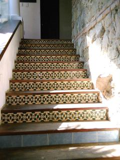 Stairs from living room to bedrooms