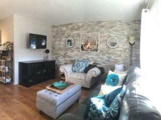 Cozy living space with new queen sleeper sofa plus memory foam topper