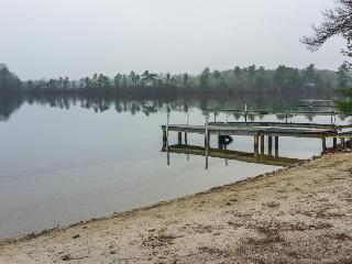 Lakefront house on over seven acres w/ private dock & beach right on the pond!, Wareham