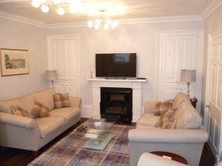 Lounge with twin 3-seater sofas, fireplace and large screen TV.