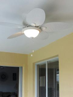 Our new ceiling fan over the lanai area