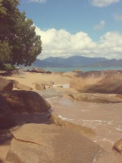 Perfect beach looking back over towards Cairns
