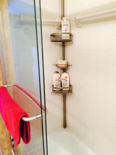 shower /tub combination has choice of shampoos, conditioner and quality  soap