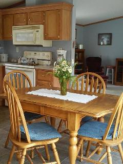 The kitchen has a sweet country feel and is ready for a family's needs. As you can see :)