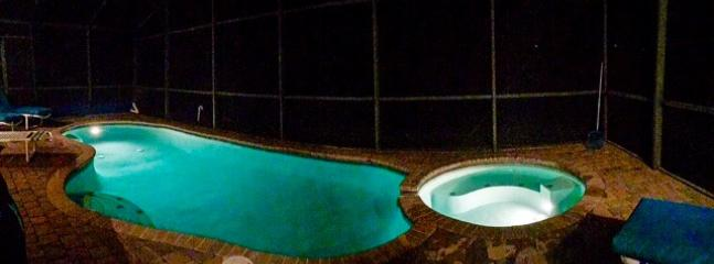 Pool and spa light up at night for evening relaxation after a long days in the theme parks.
