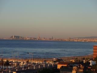 Vue sur le port et sur Barcelone