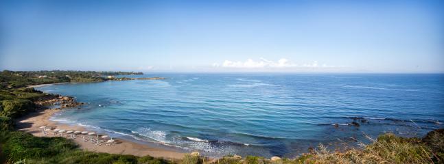 beautiful Levendochori bay and golden sandy beach