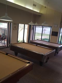 Pool room with book exchange.  Cues and ball available at reception free for you to use.