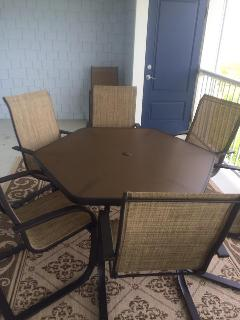 large table on the balcony