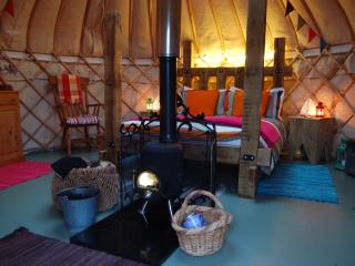 The Secret Yurts luxury king size bed.
