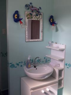 Downstairs bathroom, sink. Toilet is behind the wall.