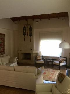 spacious living room with fireplace, and stereo, patio doors leading to verandah and garden