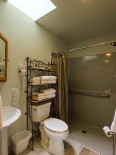 3/4 bath with roll-in shower - also full size washer and dryer for your use