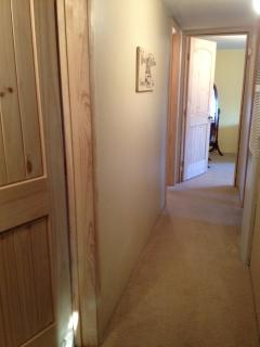 Hallway leading to three bedrooms and bath