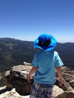 Atop Fresno Dome, high above Bass Lake. Your kids can't play Minecraft up here :-)!
