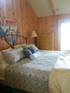 Master bedroom-king bed, ensuite bath w/ oversized shower and double shower heads. Private deck.