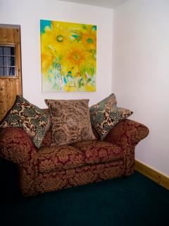 2nd settee featuring 'Welcome', another painting by Melody