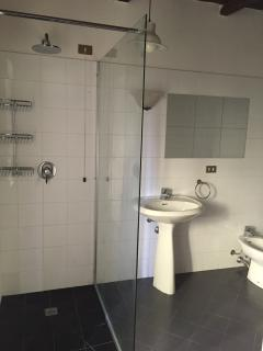 The bright downstairs bathroom with wet area walk in shower